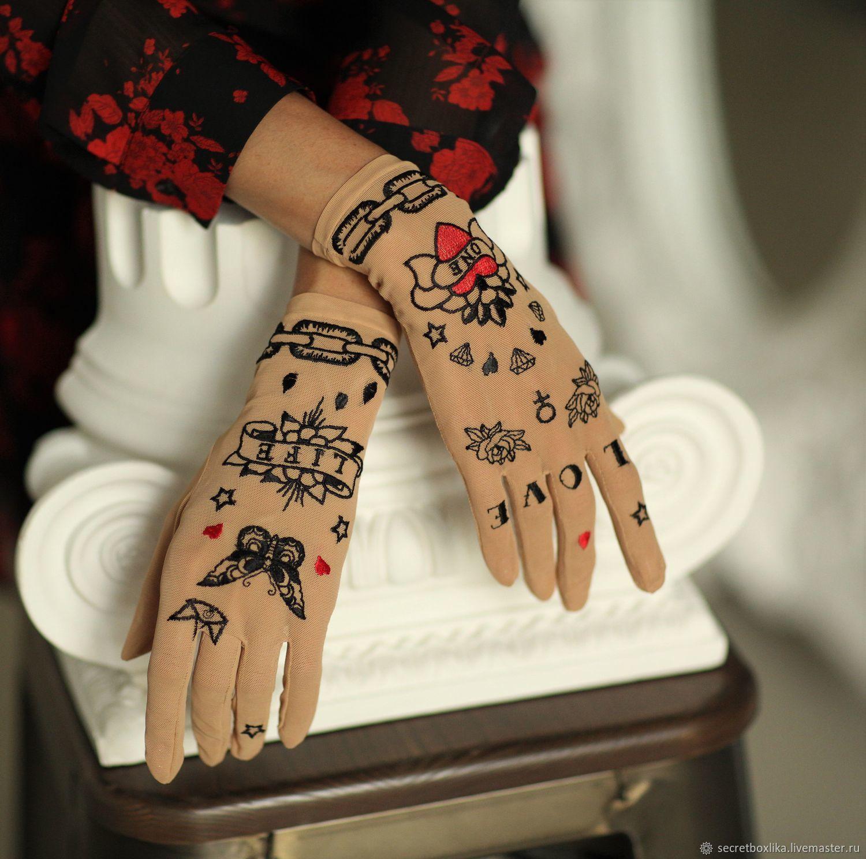 Перчатки из сетки с вышивкой Love, Перчатки, Москва,  Фото №1