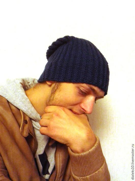 Шапки ручной работы. Ярмарка Мастеров - ручная работа. Купить Мужская шапка зимняя.. Handmade. Синий, шапка колпак