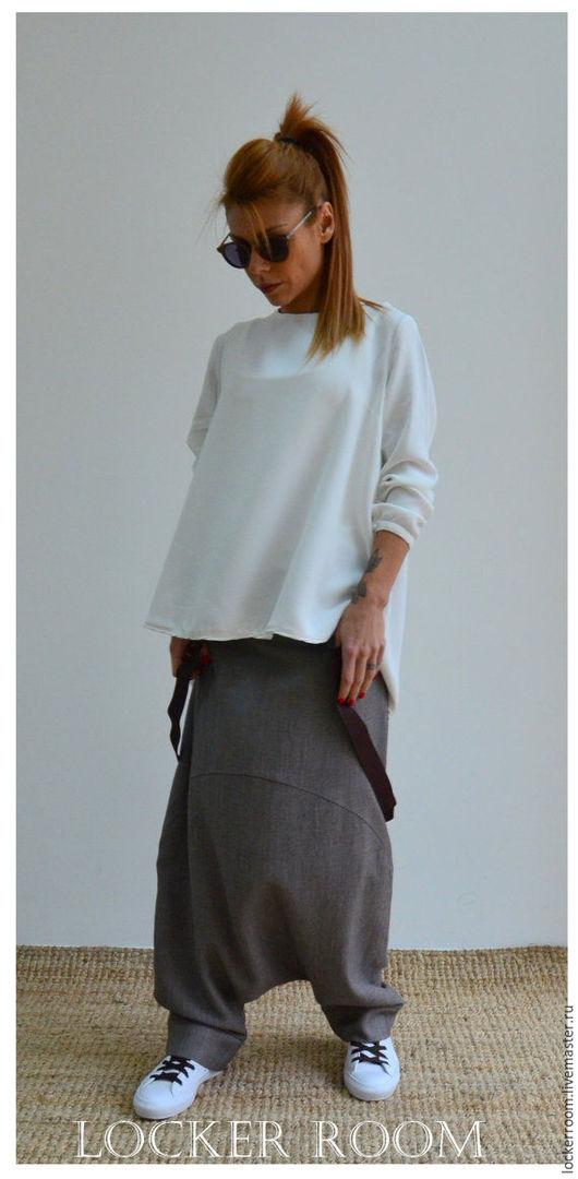 Брюки из шерсти, модные штаны, широкие брюки, штаны с мотней, дизайнерские брюки, мода , стильная одежда
