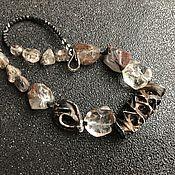 Украшения handmade. Livemaster - original item Iced Coffee Necklace. Original porcelain, chlorite quartz, 925 silver. Handmade.