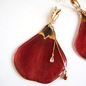 Украшения handmade. Livemaster - original item Earrings with Real Red Tulip Petals Korean Accessories 2. Handmade.