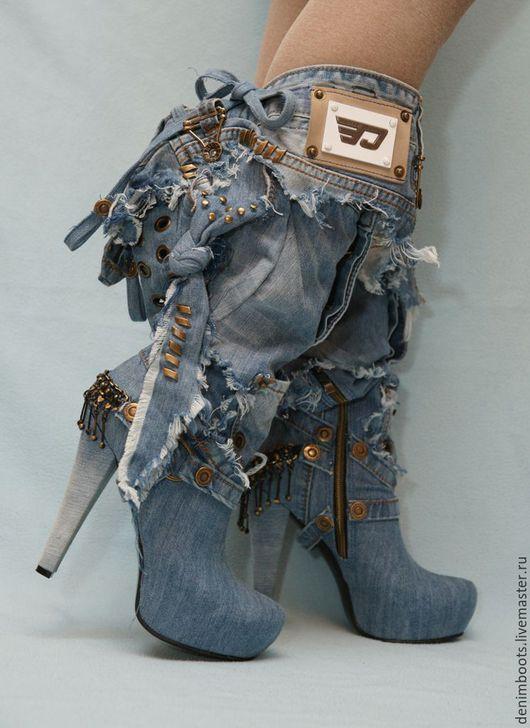 """Обувь ручной работы. Ярмарка Мастеров - ручная работа. Купить Сапожки джинсовые """"Кокетка"""". Handmade. Голубой, джинсовые сапоги"""