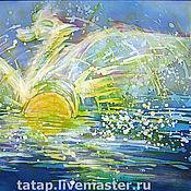 """Картины и панно ручной работы. Ярмарка Мастеров - ручная работа Батик-картина. """"Море. Рассвет."""". Handmade."""