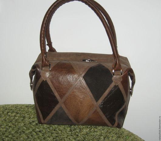 Женские сумки ручной работы. Ярмарка Мастеров - ручная работа. Купить Кожаная сумка. Handmade. В клеточку, коричневый