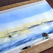 """Картины и панно ручной работы. Ярмарка Мастеров - ручная работа Картина акварелью """"Море.."""". Handmade."""