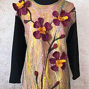 Одежда ручной работы. Ярмарка Мастеров - ручная работа Орхидеи платье валяное, трикотажное. Handmade.