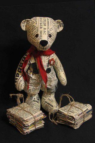 Мишки Тедди ручной работы. Ярмарка Мастеров - ручная работа. Купить Газетный мишка. Яша - пионер.. Handmade. Газета, бумага