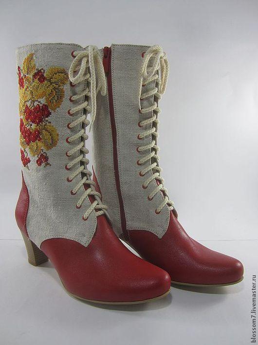 Обувь ручной работы. Ярмарка Мастеров - ручная работа. Купить Вышивка на обуви. Handmade. Кремовый, льняные изделия, кожа натуральная
