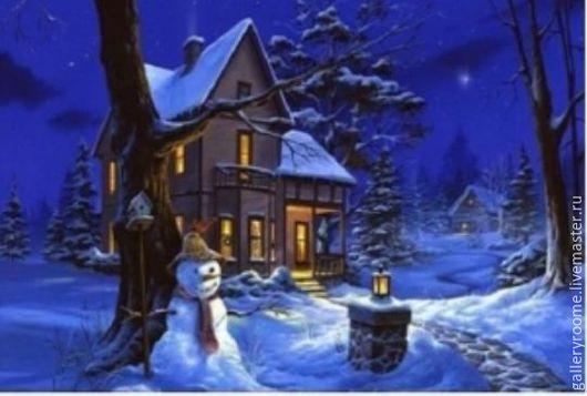 Другие виды рукоделия ручной работы. Ярмарка Мастеров - ручная работа. Купить Картина по номерам на холсте Снеговик охранник. Handmade.