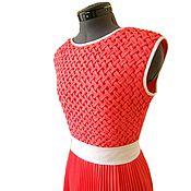 Одежда ручной работы. Ярмарка Мастеров - ручная работа Платье коралловое с буфами. Handmade.