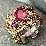 """Украшения ручной работы. Ярмарка Мастеров - ручная работа """"Плетение"""" кольцо серебро 925 с рубином и аметистом в золоте. Handmade."""