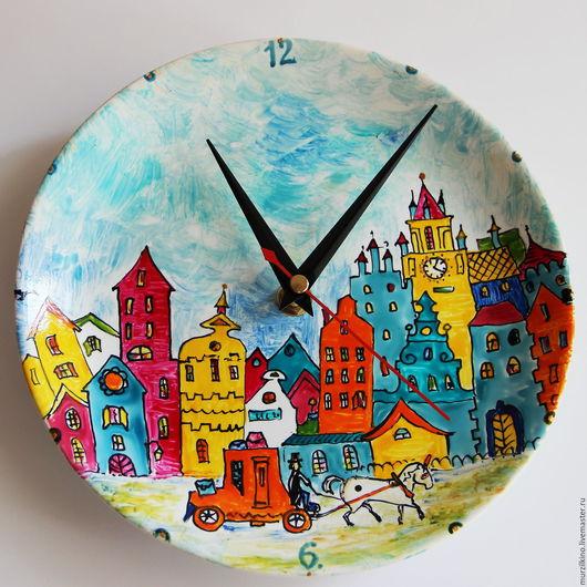 Часы-тарелка Городок сказок Андерсена (керамика)