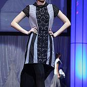 """Одежда ручной работы. Ярмарка Мастеров - ручная работа платье серое с черными полосами-вставками """"скромный павлин"""". Handmade."""