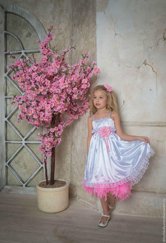 Одежда для девочек, ручной работы. Ярмарка Мастеров - ручная работа. Купить Элегантное вечернее платье. Handmade. Белый, перья, бренд