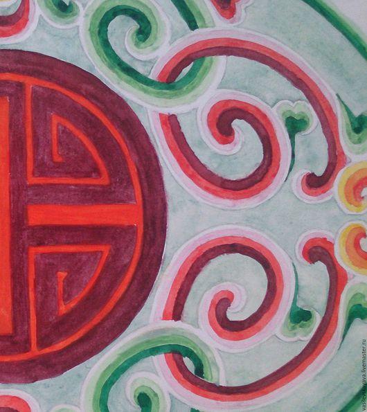 Репродукции ручной работы. Ярмарка Мастеров - ручная работа. Купить Миниатюра акварелью Орнамент (картина акварелью). Handmade. Зеленый, оранжевый