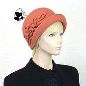 Аксессуары handmade. Livemaster - original item Elegant ladies felt hat. Color coral.. Handmade.