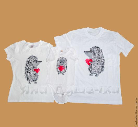 """Футболки, майки ручной работы. Ярмарка Мастеров - ручная работа. Купить Семейный комплект футболок """"Ежики"""". Family look.. Handmade."""