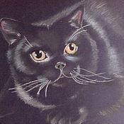 Картины и панно ручной работы. Ярмарка Мастеров - ручная работа Черный кот. Handmade.
