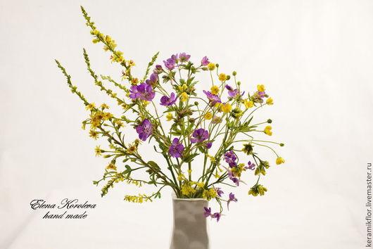 Искусственные растения ручной работы. Ярмарка Мастеров - ручная работа. Купить Букет полевых цветов из полимерной глины №2. Handmade.