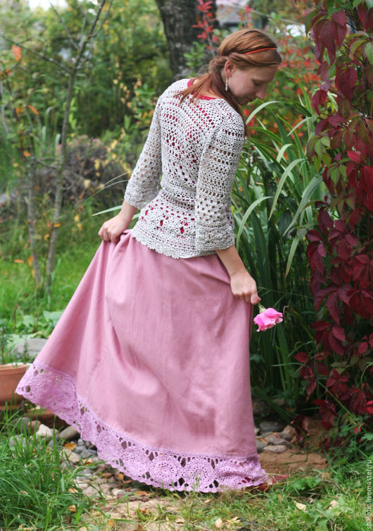 Юбка в стиле бохо. Льняная юбка в пол с кружевом, льняные юбки и платья ручной работы, автор Юлия Льняная сказка