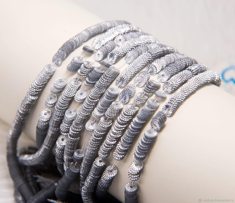 Пайетки французские рифленые серебро 4мм