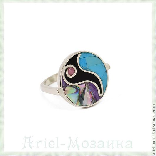 Кольцо `Иллюзия`  Размер: 18 ARIEL - Алёна - МОЗАИКА  Москва  Кольцо с бирюзой Кольцо с чароитом  Кольцо с перламутром  Мозаика из натуральных камней