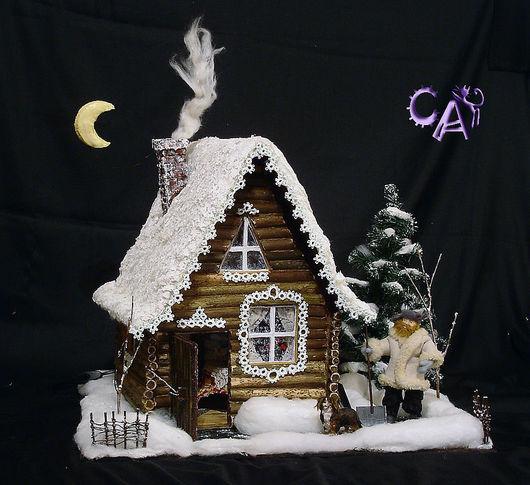 Кукольный дом ручной работы. Ярмарка Мастеров - ручная работа. Купить Зимняя Избушка. Handmade. Домик, домик для детской