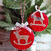 Сувениры и подарки handmade. Livemaster - original item Christmas toys for the Christmas tree red horses deer New Year 2022 Christmas tree. Handmade.