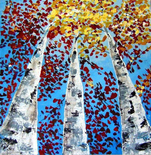 Пейзаж ручной работы. Ярмарка Мастеров - ручная работа. Купить Над головой. Handmade. Синий, лес, небо, картина для интерьера