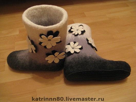 """Обувь ручной работы. Ярмарка Мастеров - ручная работа. Купить Валенки """"День и ночь"""". Handmade. Черный, шерсть"""