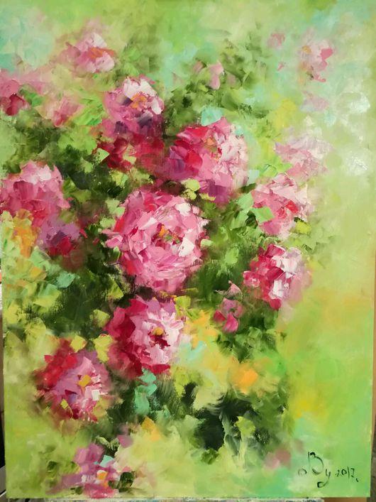 Картины цветов ручной работы. Ярмарка Мастеров - ручная работа. Купить Дикие розы. Handmade. Цветы, карины на заказ, масло