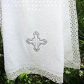 Работы для детей, handmade. Livemaster - original item Towel for baptism 140/70 silver cross. Handmade.