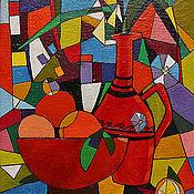 """Картины и панно ручной работы. Ярмарка Мастеров - ручная работа картина """"Натюрморт с красным кувшином"""". Handmade."""