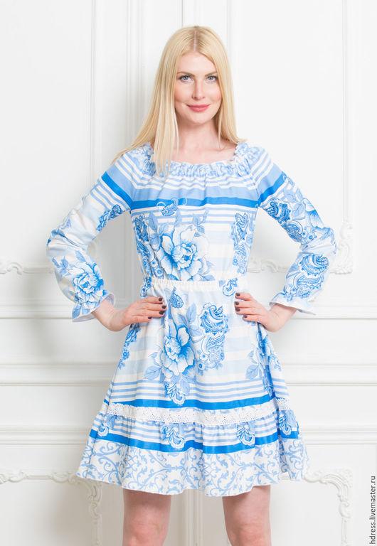 """Платья ручной работы. Ярмарка Мастеров - ручная работа. Купить Платье """"Гжель с кружевом"""". Handmade. Платье, Платье нарядное"""