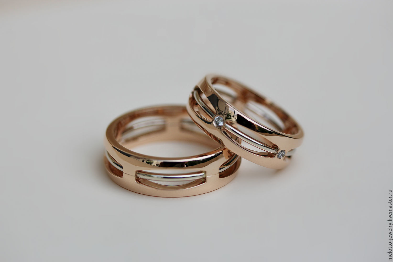 Свадебные украшения ручной работы. Ярмарка Мастеров - ручная работа. Купить  Обручальные кольца из комбинированного 857916c4436