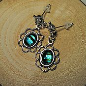 Украшения handmade. Livemaster - original item Filigree earrings with glass blue.. Handmade.