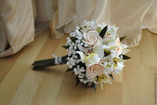 Свадебные цветы ручной работы. Ярмарка Мастеров - ручная работа. Купить Букет невесты с розами, альстромериями и гипсофилой. Handmade. Кремовый