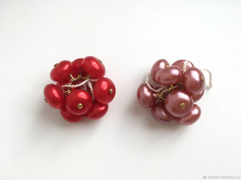 Vintage glass buttons Jablonex Czechoslovakia Red pink, Vintage buttons, St. Petersburg,  Фото №1