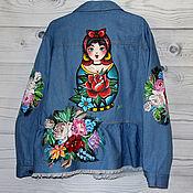 Одежда handmade. Livemaster - original item Denim jacket with dolls and Zhostovo painting handmade. Handmade.