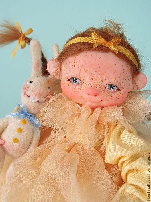 """Коллекционные куклы ручной работы. Ярмарка Мастеров - ручная работа. Купить """"Солнышко"""". Handmade. Желтый, Рыжая, шерсть 100%"""