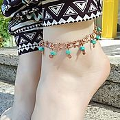 Украшения handmade. Livemaster - original item Anklet For Women girls Infinity Gems Copper Turquoise. Handmade.