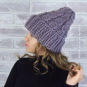 Шапки ручной работы. Ярмарка Мастеров - ручная работа Вязаная зимняя шапка из толстой пряжи, модная шапка крупной вязки. Handmade.