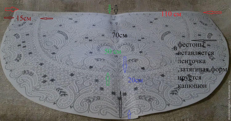 Выкройка платка капюшона для храма