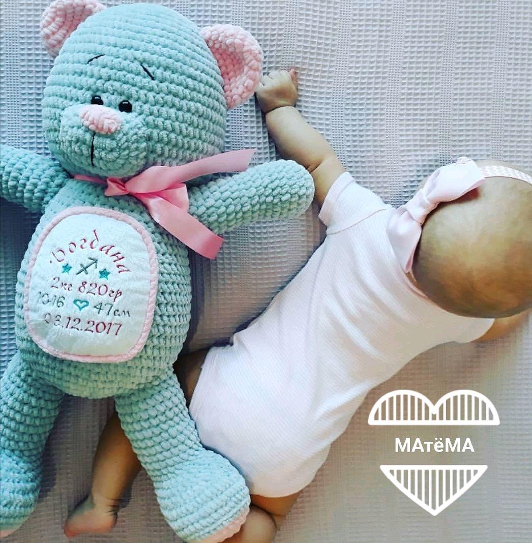 Мишка с метрикой малыша (с розовыми ушками), Игрушки, Красноярск, Фото №1