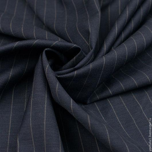 Шитье ручной работы. Ярмарка Мастеров - ручная работа. Купить Шерсть плательно-костюмная   Super 120  темно-синяя ARMANI. Handmade.