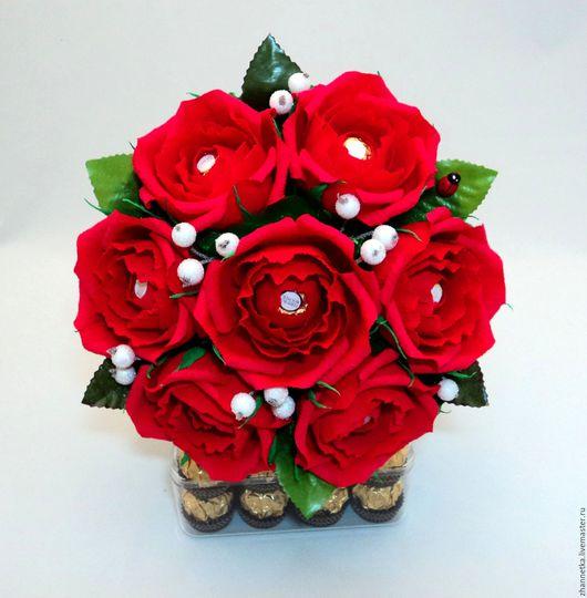 """Букеты ручной работы. Ярмарка Мастеров - ручная работа. Купить Букет из конфет """"Красные розы"""".. Handmade. Ярко-красный"""