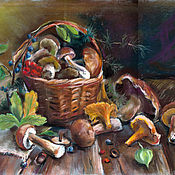 Картины и панно handmade. Livemaster - original item Mushrooms in the basket. Handmade.