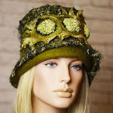 Аксессуары ручной работы. Ярмарка Мастеров - ручная работа Женская валяная шляпа зеленого болотного цвета. Handmade.