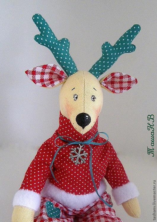 Куклы Тильды ручной работы. Ярмарка Мастеров - ручная работа. Купить Новогодний олень. Handmade. Ярко-красный, хлопок 100%