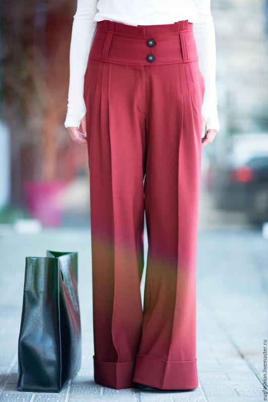 Брюки элегантные. Бордовые брюки. Брюки из холодной шерсти. Брюки с карманами. Ручная работа. Купить брюки.